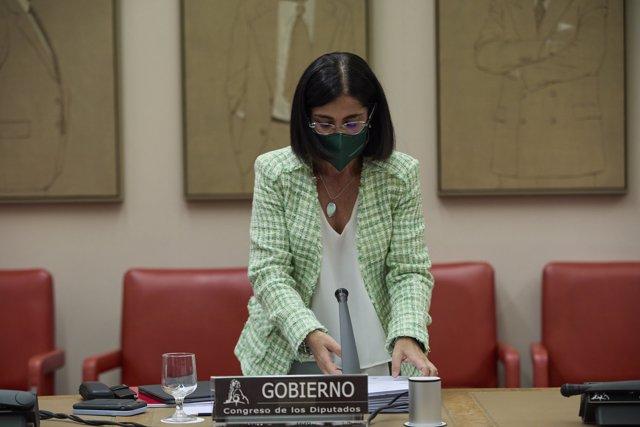 La ministra de Sanidad, Carolina Darias, a su llegada para comparecer en una Comisión de Sanidad y Consumo en el Congreso de los Diputados, a 31 de agosto