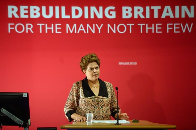 Archivo - 13 July 2019, England, London: Dilma Rousseff, former president of Brazil, speaks during the International Social Forum hosted by the Labour Party at the SOAS University of London. Photo: Kirsty O'connor/PA Wire/dpa