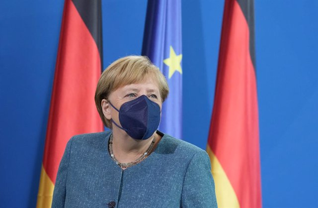 31 August 2021, Berlin: German Chancellor Angela Merkel attends an award ceremony in the Federal Chancellery to receive the Buber-Rosenzweig Medal 2020 by the German Coordinating Council of Societies for Christian-Jewish Cooperation (DKR). Photo: Kay Niet