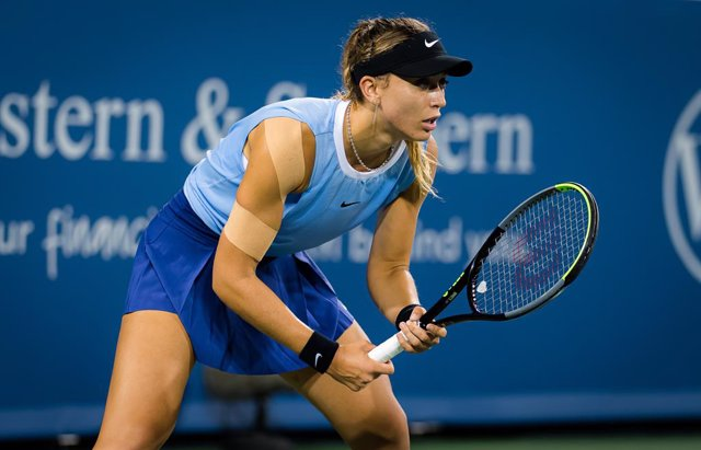 Paula Badosa of Spain in action during her quarter- final at the 2021 Western & Southern Open WTA 1000 tennis tournament against Karolina Pliskova of the Czech Republic