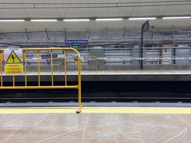 Obras de mejora en la estación de Metro de Duque de Pastrana