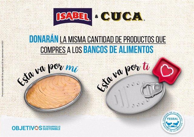ISABEL Y CUCA donará la misma cantidad de producto adquirido en los supermercados Eroski y Caprabo a los bancos de alimentos