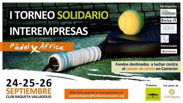 Cartel del primer torneo de pádel organizado para luchar contra el cáncer de cuello de útero en África.