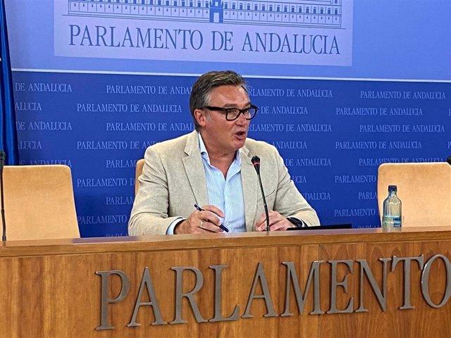 El portavoz de Vox en el Parlamento de Andalucía, Manuel Gavira, en una foto de archivo en rueda de prensa.