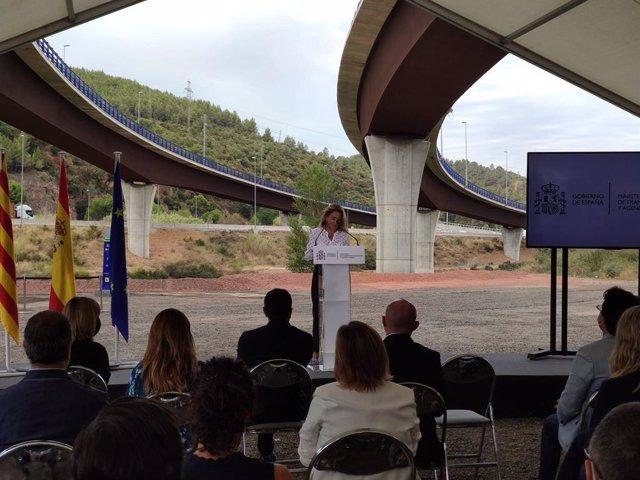 La ministra de Transports, Mobilitat i Agenda Urbana, Raquel Sánchez, en la roda de premsa