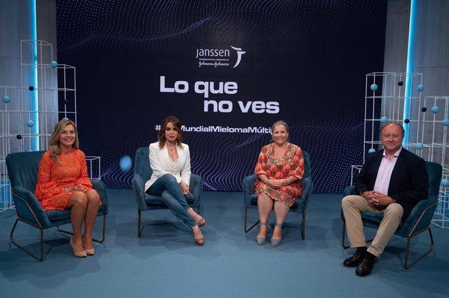 María Victoria Mateos, Carme Chaparro, Teresa Regueiro y Alejandro González durante la presentación de la campaña de concienciación sobre mieloma múltiple.