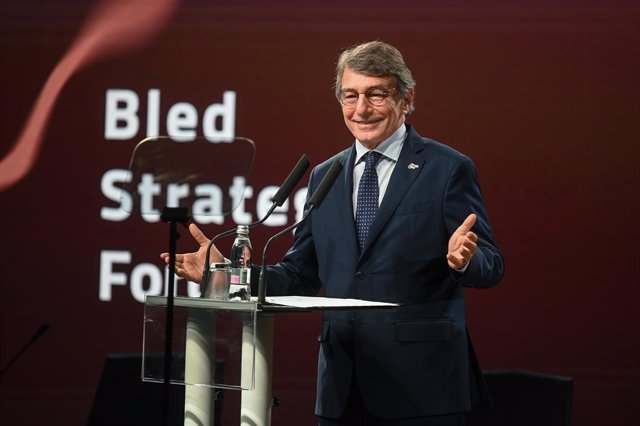 01 September 2021, Slovenia, Bled: President of the European Parliament David Sassoli speaks during the opening of the 2021 Bled Strategic Forum. Photo: Nebojsa Tejic/STA/dpa