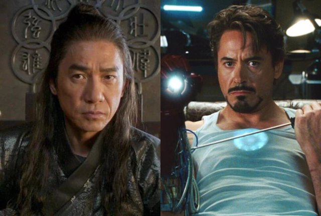 Tony Leung como el Mandarín y Robert Downey Jr. como Tony Stark