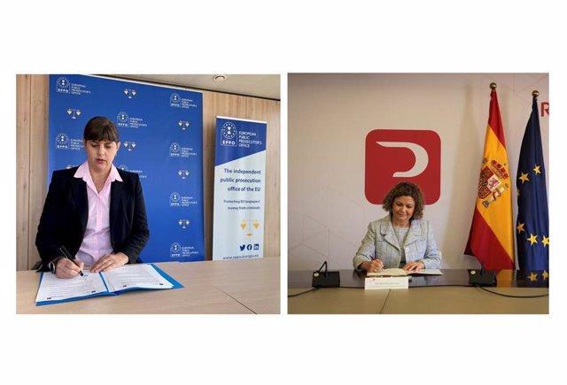 La fiscal General Europea, Laura Codruta Kövesi, y la decana del Colegio de Registradores, María Emilia Adán suscriben un Convenio De Colaboración