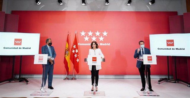 Ayuso junto a Ossorio y Lasquetty en la rueda de prensa tras el Consejo de Gobierno del 1 de septiembre