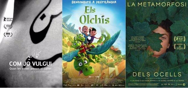 Cartell de les pel·lícules 'Els olchis', 'La metamorfosi dels ocells' i 'Com jo vulgui (As I want)'