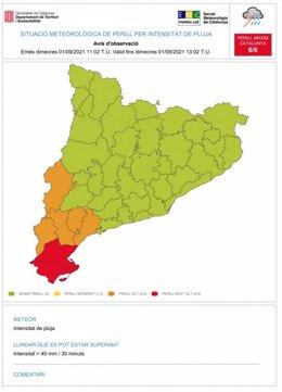 Avís de pluges intenses al Montsià i el Baix Ebre (Tarragona), a dia 1 de setembre del 2021