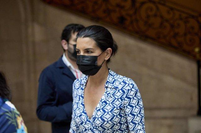 Archivo - La líder de Vox Madrid, Rocío Monasterio, a su llegada al acto de toma de posesión de la presidenta de la Comunidad de Madrid, en la Real Casa de Correos de la Puerta del Sol, a 19 de junio de 2021, en Madrid (España). Ayuso se ha proclamado pre
