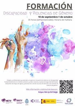 Cartel del curso para formar en atención a mujeres con discapacidad víctimas de violencia de género