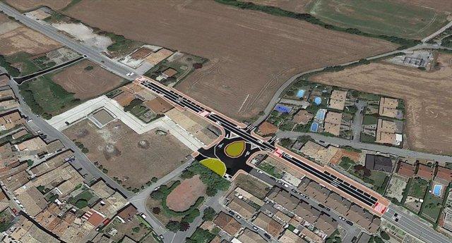 Ecreación de la nueva rotonda de acceso y salida a Monreal