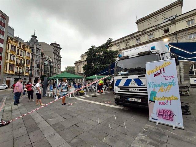 El 'vacumóvil' en Oviedo