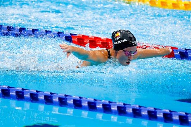 Sarai Gascón durante los 100 metros mariposa S9 de los Juegos Paralímpicos de Tokio