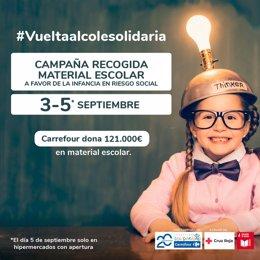 Campa de recogida de material escolar de Carrefour y Cruz Roja.