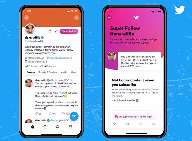 Super Follows en Twitter.