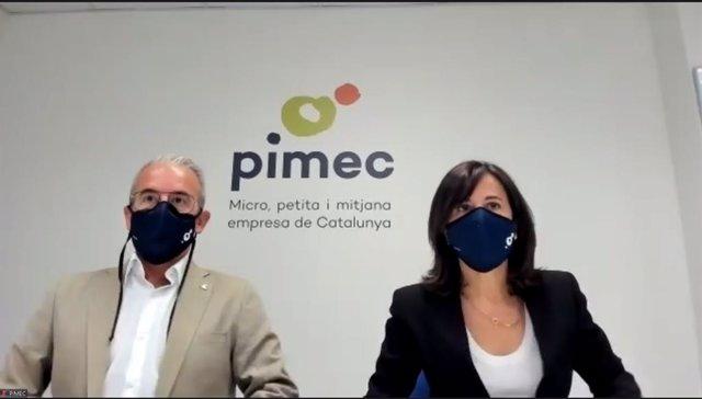 El secretari general de Pimec, Josep Ginesta, i la directora de l'àrea de treball, Sílvia Miró. A