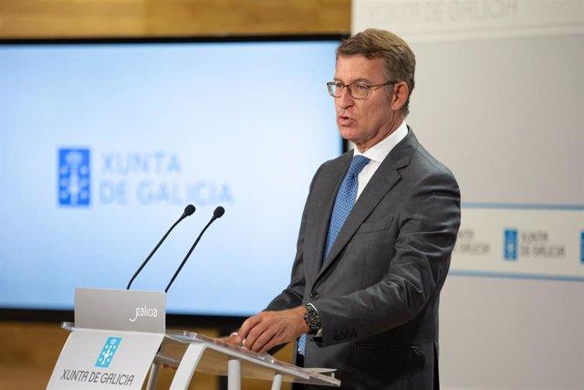 El titular del Gobierno gallego, Alberto Núñez Feijóo, durante la rueda de prensa posterior a la reunión semanal del Consello de la Xunta