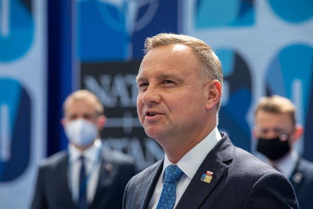Archivo - HANDOUT - 14 June 2021, Belgium, Brussels: Polish President Andrzej Duda speaks to the press upon arrival for The North Atlantic Treaty Organization (NATO) Summit. Photo: -/NATO/dpa - ATTENTION: editorial use only and only if the credit mentione