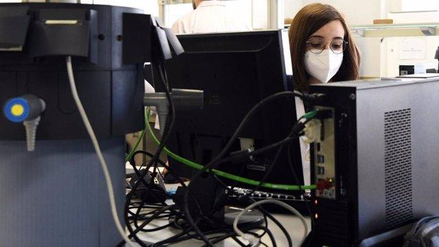 Archivo - Una mujer trabaja en una empresa tecnológica