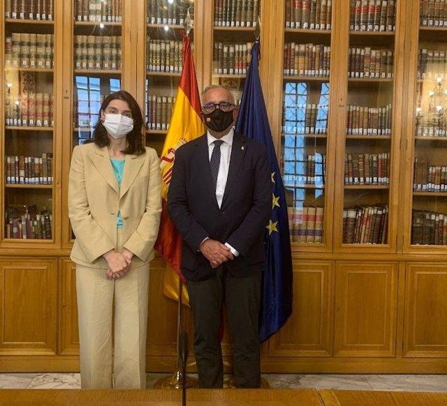 El senador del PAR, Clemente Sánchez-Garnica, participa en una reunión de la ministra de Justicia, Pilar Llop, con los portavoces de las Comisiones de Justicia del Congreso y el Senado.