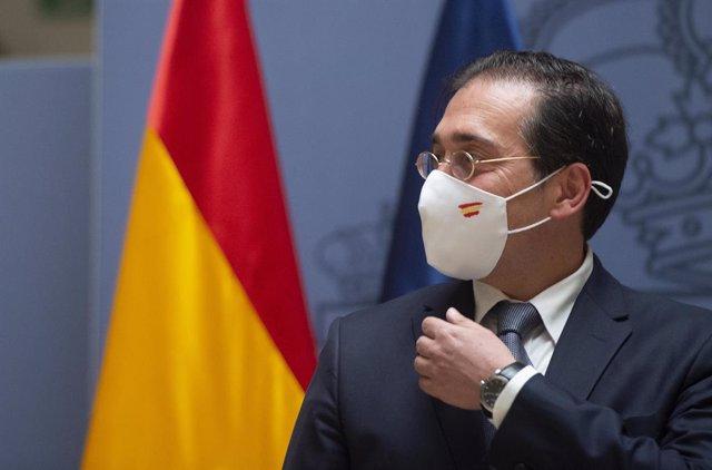 Archivo - El ministro de Asuntos Exteriores, Unión Europea y Cooperación, José Manuel Albares, durante el acto por el que el nuevo subsecretario del Ministerio ha tomado posesión del cargo, a 29 de julio de 2021, en Madrid (España). Con este acto continúa
