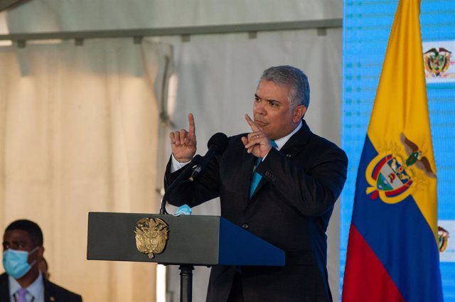 Archivo - 29 June 2021, Colombia, Bogota: Colombia's President Ivan Duque gives a speech during a press conference regarding the first line of Bogota's metro system that will be opened by 2028. Photo: Chepa Beltran/LongVisual via ZUMA Wire/dpa