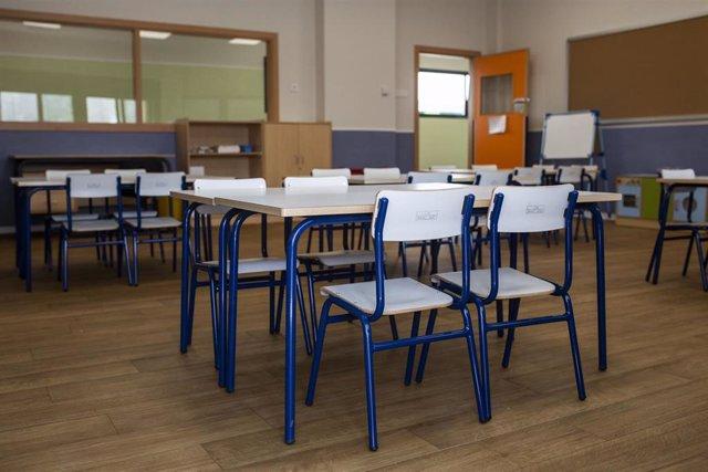 Una de las aulas del colegio público Nuria Espert, en el distrito madrileño de Hortaleza.