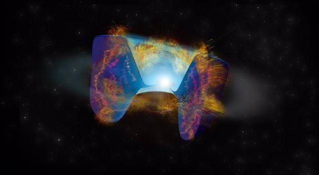 Archivo - Los escombros que se mueven rápidamente de una explosión de supernova desencadenada por una colisión estelar chocan contra el material arrojado antes, y los choques causan una emisión de radio brillante vista por el VLA