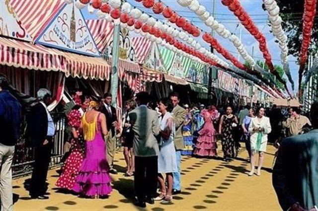 Archivo - Imagen de archivo de casetas de la Feria de Abril de Sevilla