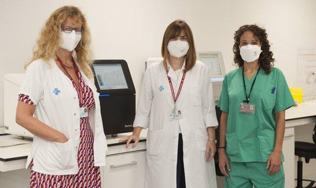 El trasplante de pulmón es efectivo para los enfermos de fibrosis pulmonar con telómeros cortos. De izquierda a derecha las Dras. María Molina, Lourdes Planas y Vanesa Vicens.