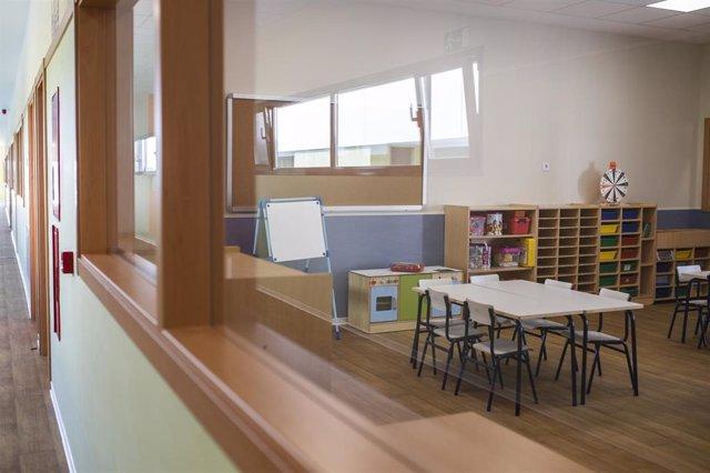 Una de las aulas del colegio público Nuria Espert, en el distrito madrileño de Hortaleza, a 26 de agosto de 2021, en Madrid (España). Este colegio es uno de los nuevos centros educativos que comienzan a funcionar en el curso escolar 2021/2022 y al que el