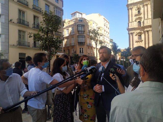 El portavoz de Vox en el Congreso de los Diputados, Iván Espinosa de los Monteros, en una visita a Málaga