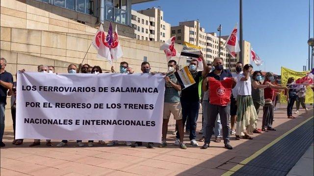 Protesta de los maquinistas en Salamanca