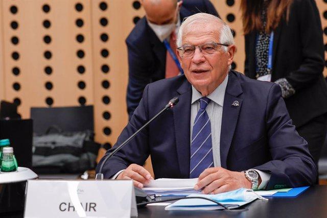HANDOUT - 02 September 2021, Slovenia, Kranj: Josep Borrell, EU High Representative for Foreign Affairs and Security Policy, speaks during the Informal Meeting of EU Defence Ministers in Kranj. Photo: Primoz Predalic/EU Council/dpa - ATTENTION: editorial
