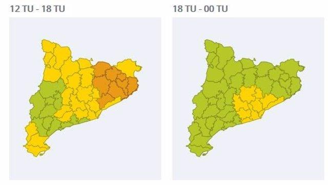 Mapes de les comarques que es podran veure afectades per les pluges aquest divendres