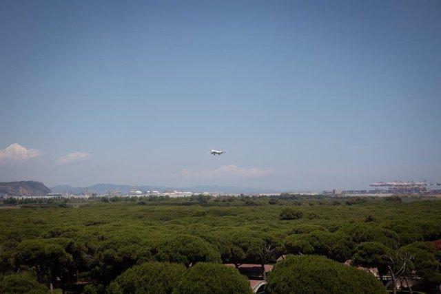 Archivo - Arxiu - Un avió vola prop de l'espai protegit natural de la Ricarda