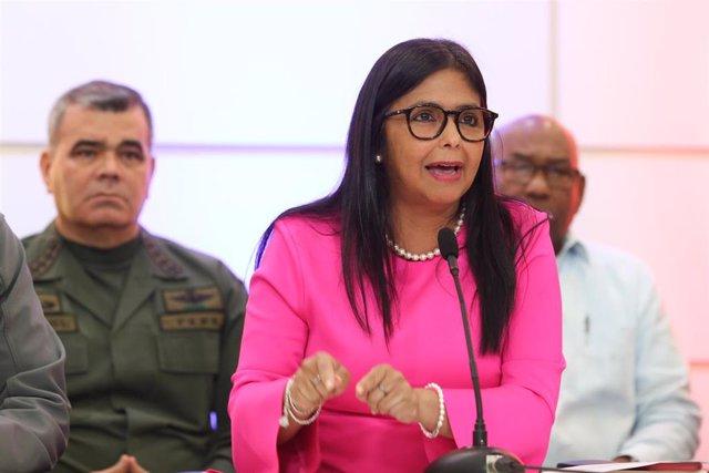 Archivo - La vicepresidenta de Venezuela Delcy Rodríguez