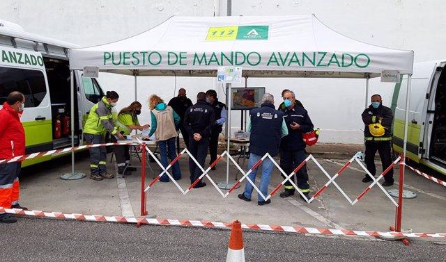 PMA instalado durante el simulacro en la empresa CLH de Málaga. Archivo.
