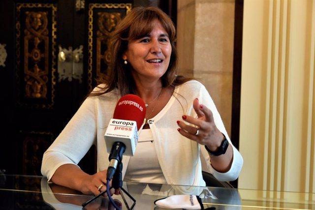 La presidenta del Parlament, Laura Borràs, en una entrevista a Europa Press
