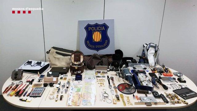 Objectes requisats pels Mossos d'Esquadra.