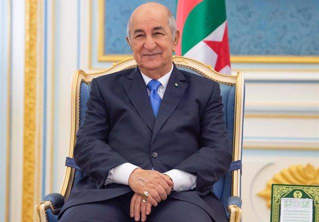 Archivo - El presidente de Argelia, Abdelmayid Tebune