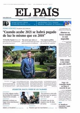 Portada 'El País' 5 de septiembre de 2021