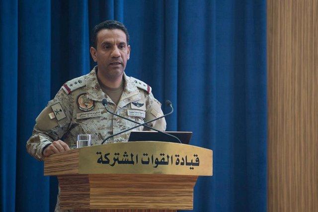 Archivo - El portavoz de la coalición internacional que encabeza Arabia Saudí en Yemen, Turki al Malki