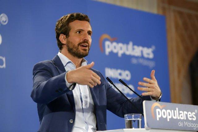 El presidente del PP, Pablo Casado, en el acto de inicio de curso político del PP andaluz este viernes en Alhaurín el Grande (Málaga)