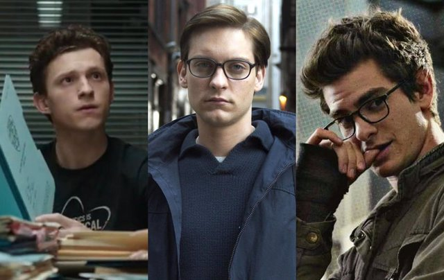Tom Holland, Tobey Maguire y Andrew Garfield como Peter Parker
