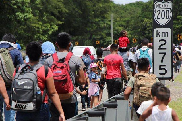 Caravana de migrantes en Chiapas, México